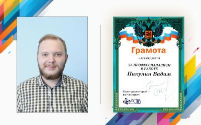 За профессионализм в работе – Пикулин Вадим Сергеевич, руководитель отдела продаж