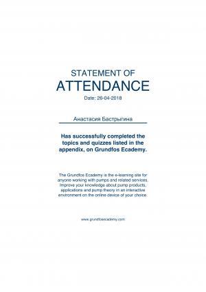 Statement of Attendance – Бастрыгина Анастасия