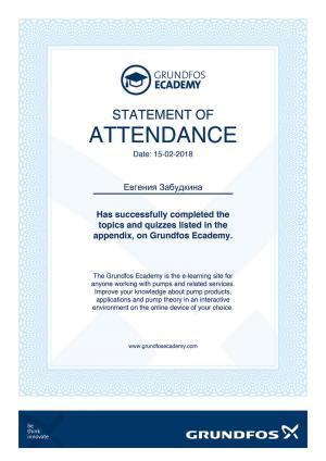 Statement of Attendance – Забудкина Евгения