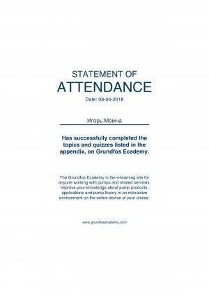 Statement of Attendance – Момча Игорь