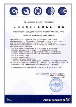 Свидетельство Grundfos, Насосное оборудование – базовый сервисный курс, Порыгин Александр Анатольевич