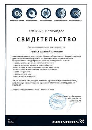 Свидетельство Grundfos, Насосное оборудование – базовый курс, Трегубов Дмитрий Борисович