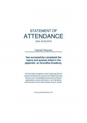 Statement of Attendance – Пикулин Сергей